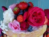 organic roses and summer fruits