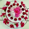 Malope flowers with Victoria sponge cake