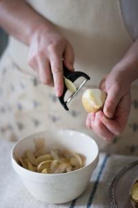 peeling organic pears