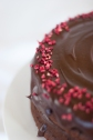 chocolate ganache icing with raspberry sprinkles