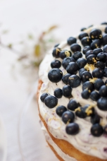 Victoria sponge, with blueberry, lemon and honey cream